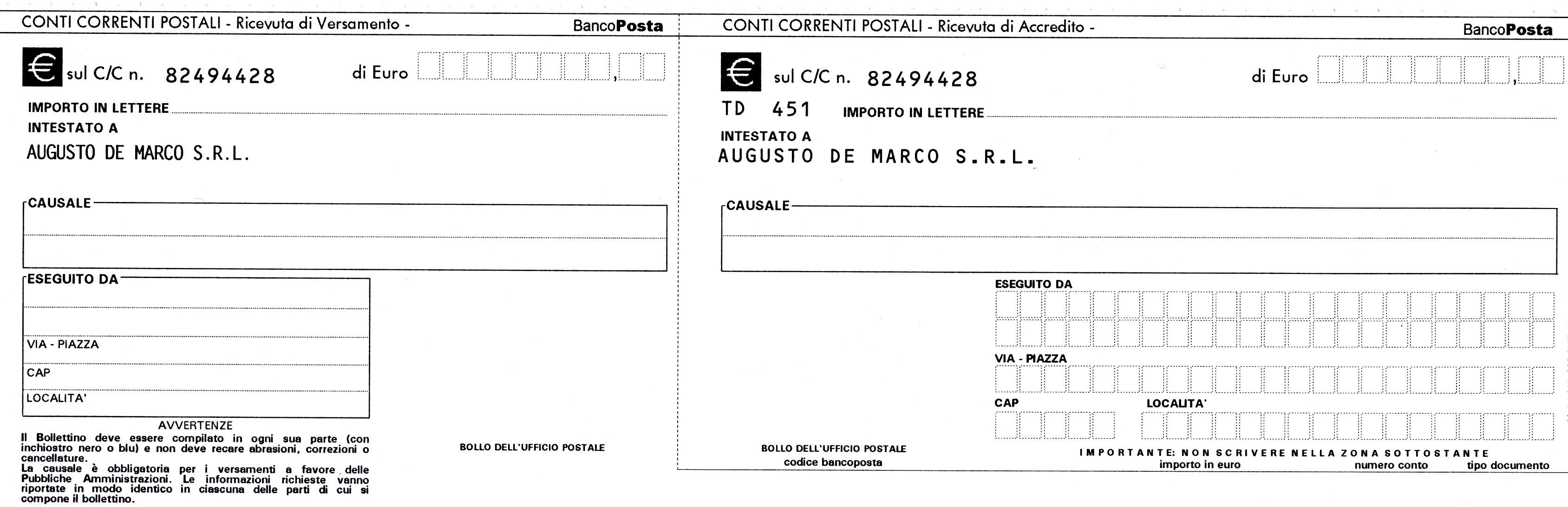 Augusto de marco impianti elettrici industriali for Bollettino precompilato